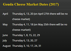 Gouda Cheese Market Dates (2017)