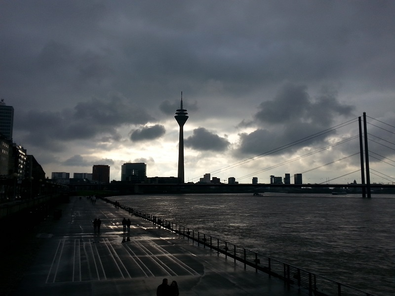 The The Rheinturm Radio Tower in Dusseldorf, Germany (February 4th, 2018)