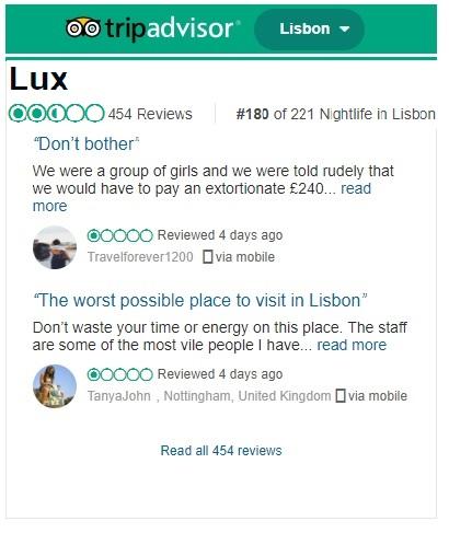 Lux (Lisbon): BAD Reviews