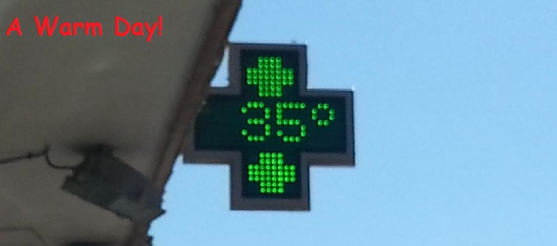 It's Hot in Granada and the Pharmacy Sign Confirms It