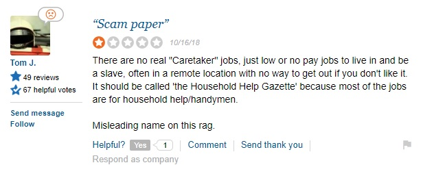 Tom J Says There are No Real Caretaker Jobs