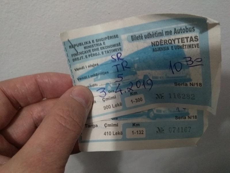 Ticketing the Old Way: Bus Tickets Albanian Bus Tickets (Saranda to Tirana)