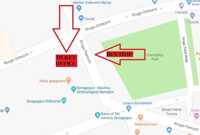 Map Showing Bus Stop and Ticket Office in Saranda, Albania