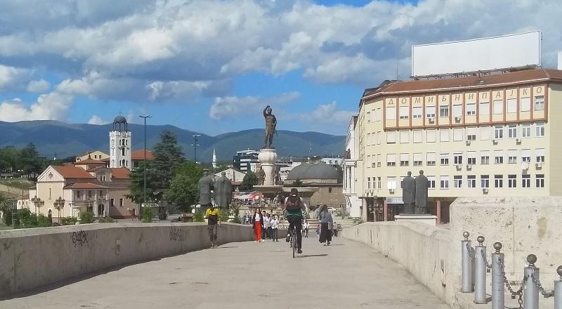 Statue of King Philip II of Macedonia (As Seen from the Stone Bridge in Skopje)