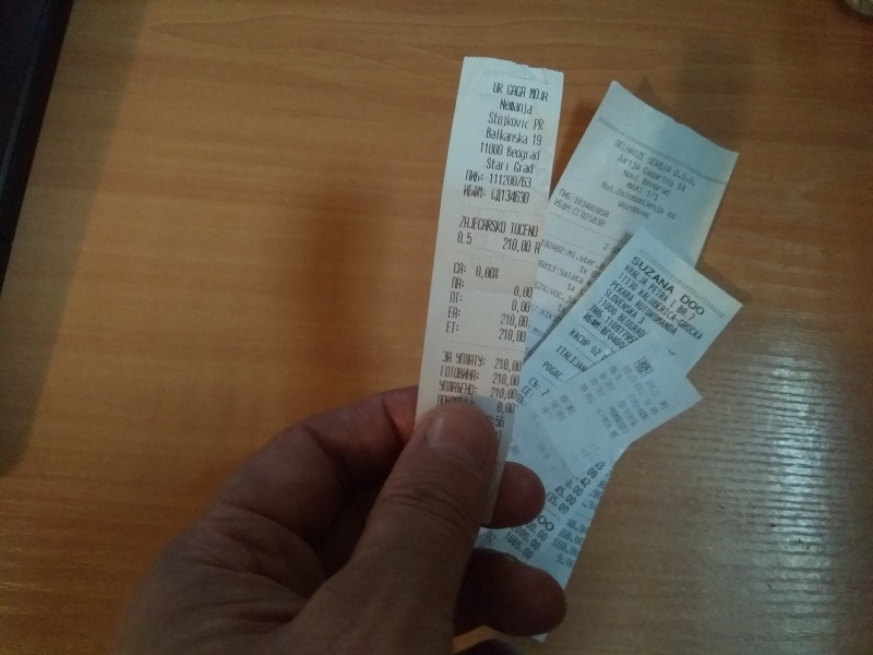 Some of the till receipts are in Serbia are very skinny