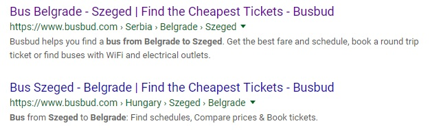 The SERPs Suggest BusBud may Know the best way to get from Belgrade to Szeged, but it's a lie.