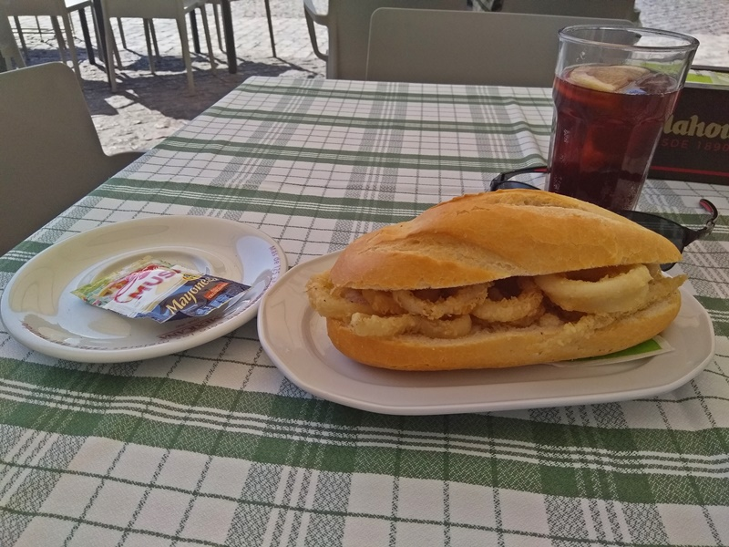 Calamari Sandwich and Tinto de Verano (Plaza Mayor, Madrid)