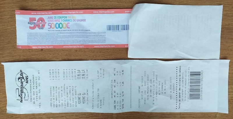 Receipt from a Supermarket in France