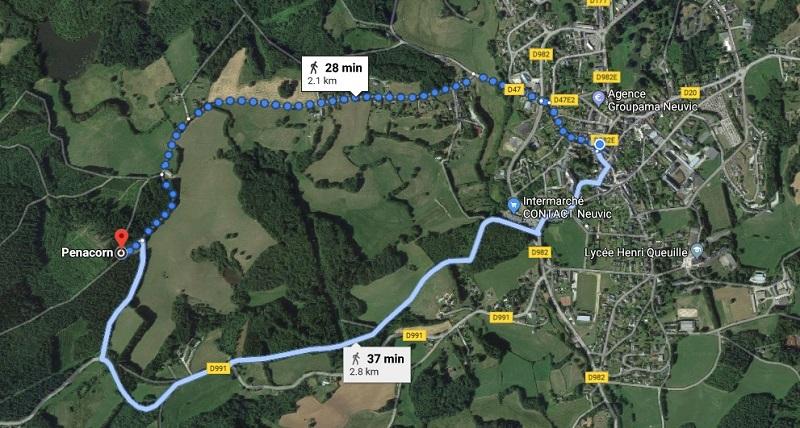 Map: Neuvic to La Chapelle de Pennacorn