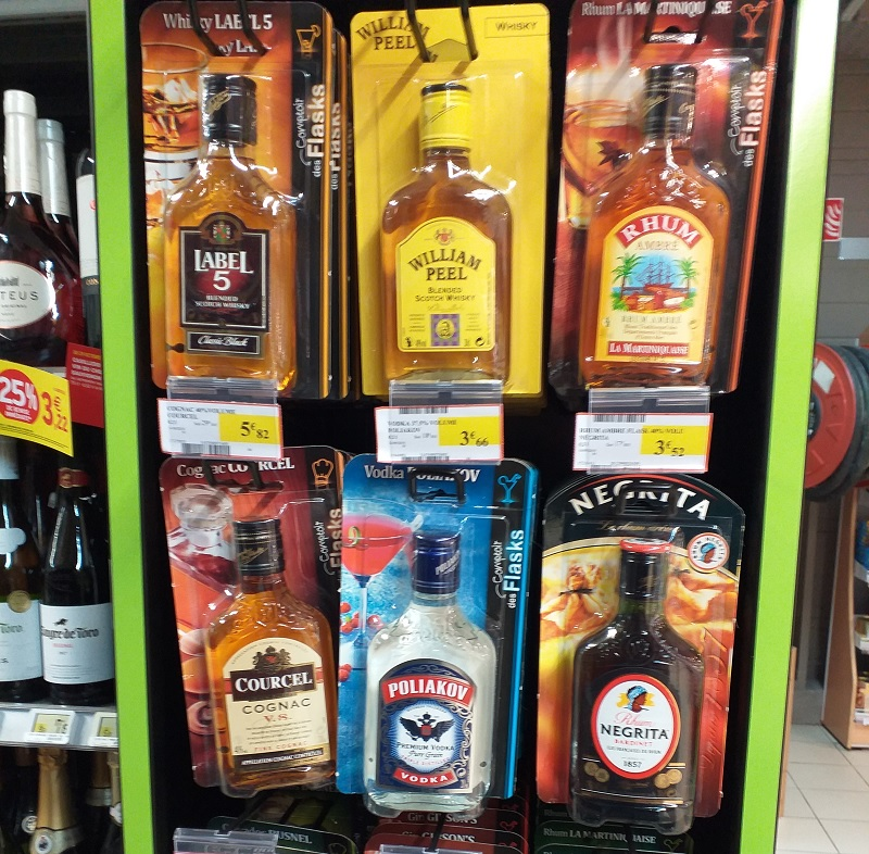 Whiskey and Other Spirits Sold on Cards in a French Supermarket
