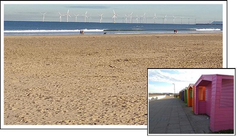 Seaside Huts and Wind Turbines at Seaton Carew