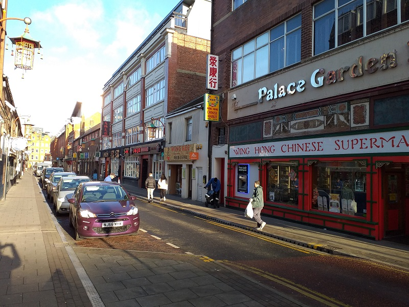 View Along Stowell Street with the Wing Hong Supermarket on the Left