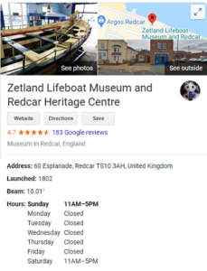 Redcar Lifeboat Museum Opening Hours
