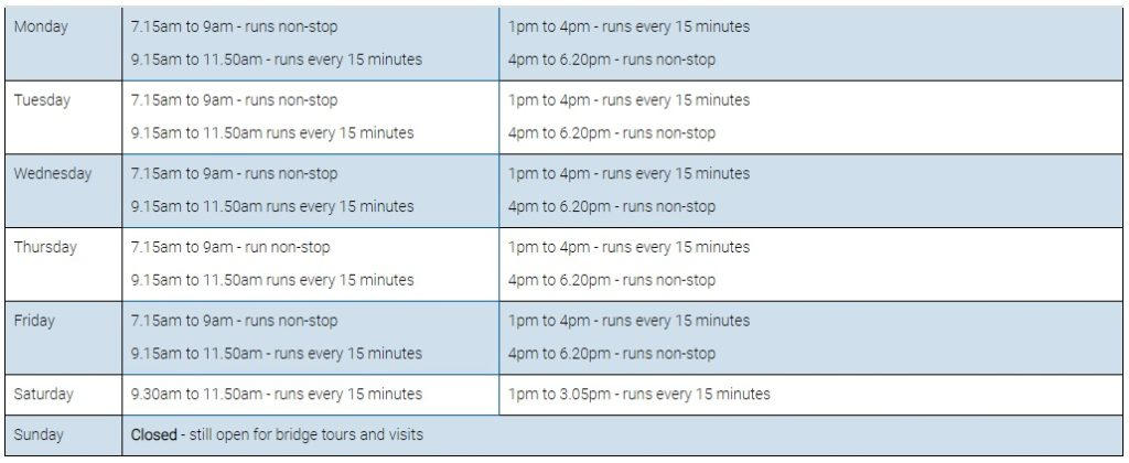 Middlesbrough Transporter Bridge Timetable