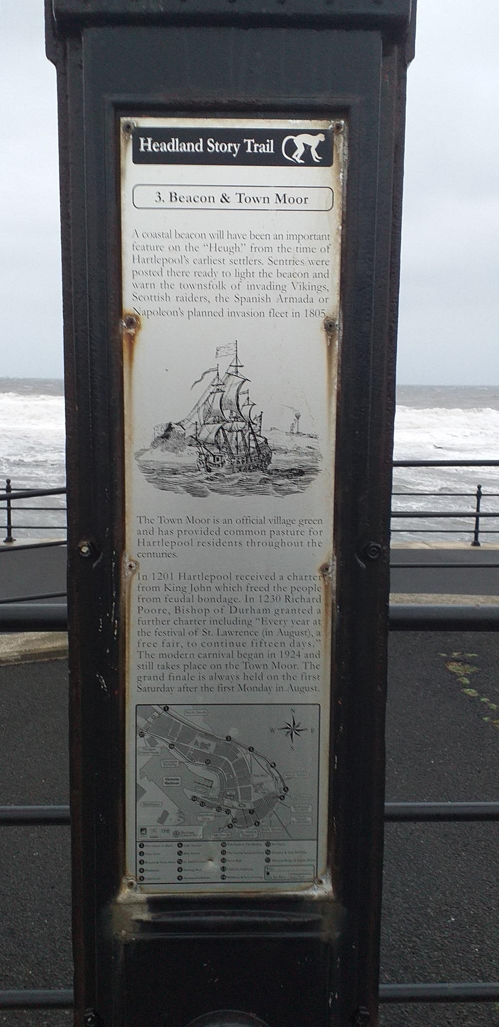 Headland Story Trail Marker no. 3 (Beacon & Town Moor)