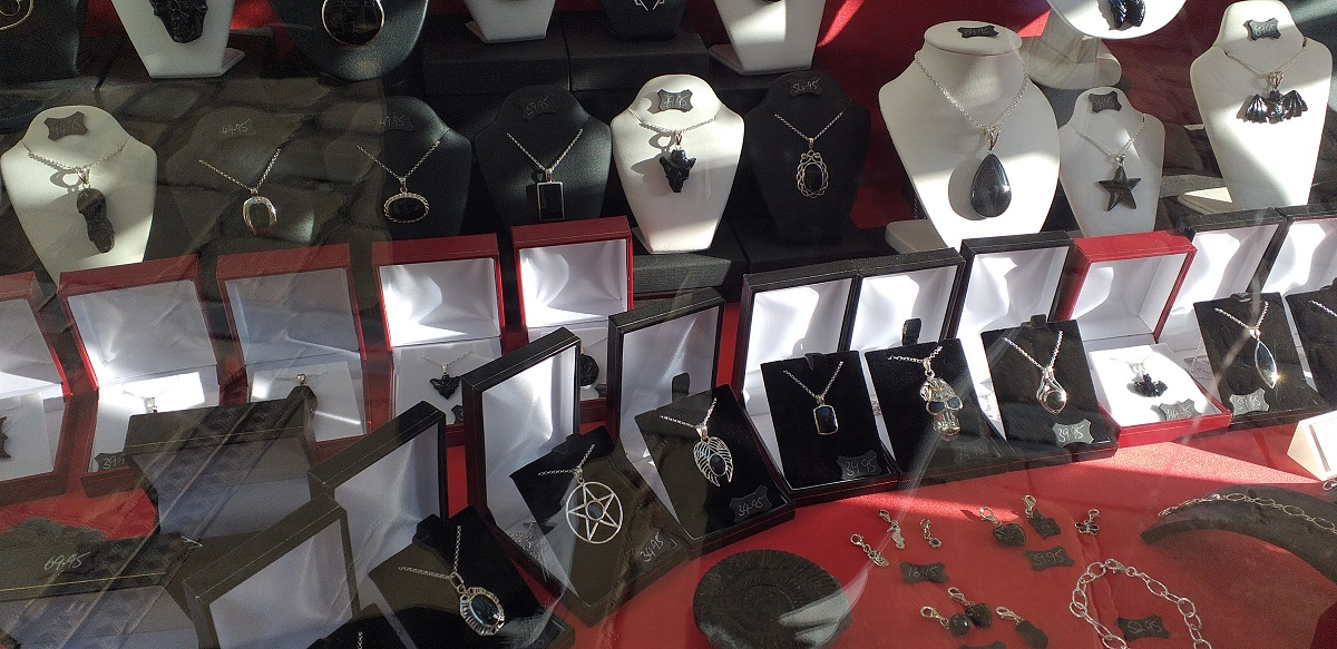 Display of Whitby Jet Jewellery