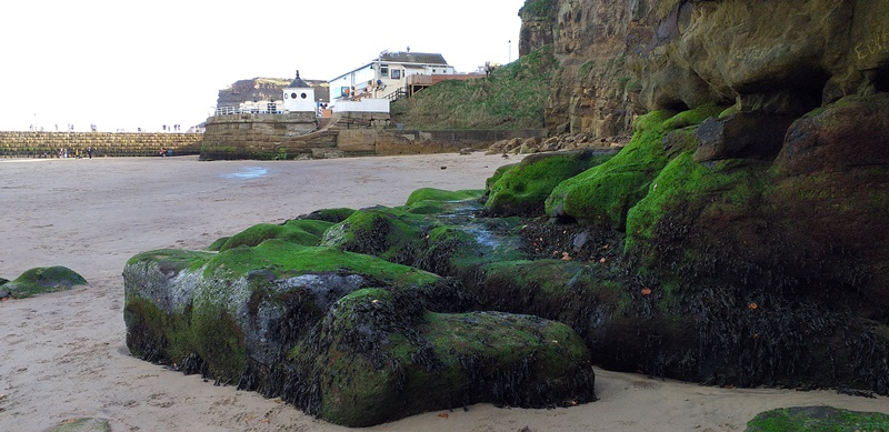 Lovely Green Rocks on the Beach at Whitby