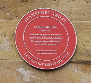 Skerne Bridge Transport Trust Heritage Plaque (Red Wheel)