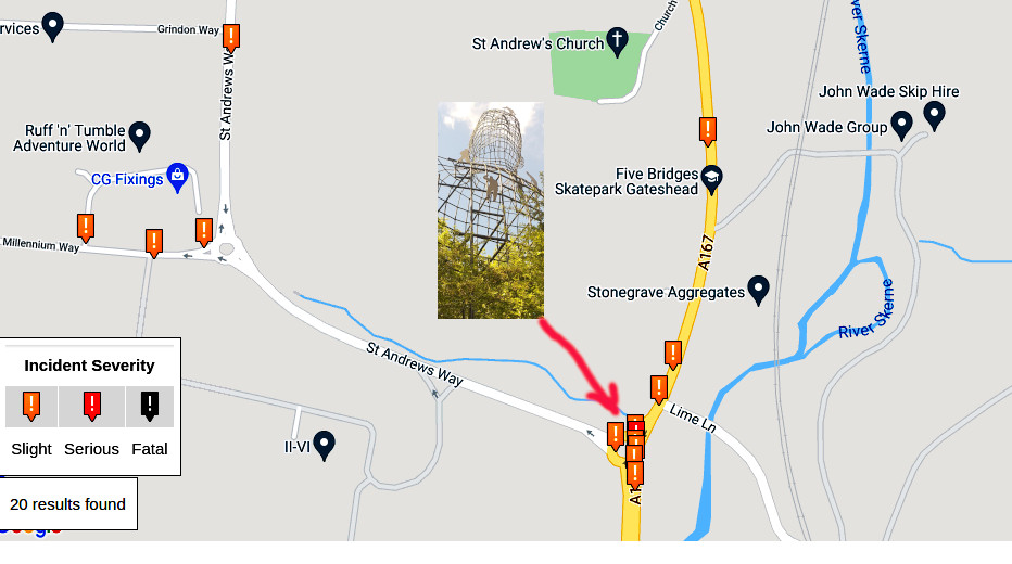 Crash map showing accidents near the big head sculpture at Newton Aycliffe
